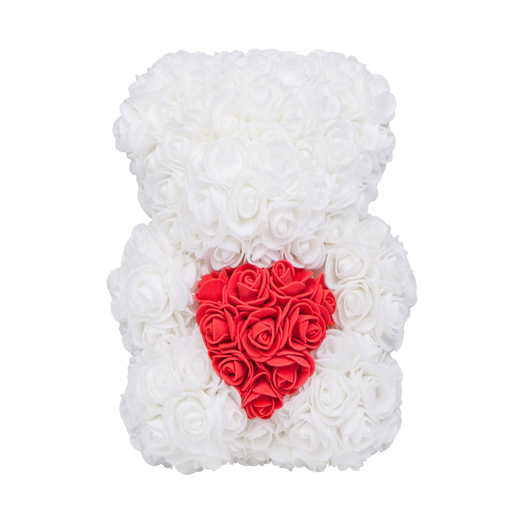 Rose Bear - Valentine's Mother's Day Anniversary Wedding Best Perfect Unique Heart Thank You Teddy Gift Ideas for Lovers Mom Women Men Wife Husband Him Her Son Daughter Birthday 25cm White Handmade - MyGiftsMate
