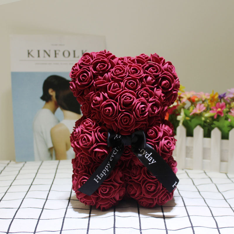 Rose Bear - Christmas Valentine's Mother's Day Anniversary Best Perfect New Unique Heart Thank You Teddy Gift Ideas for Lovers Mom Women Men Wife Husband Him Her Son Daughter Wedding Birthday 25cm - MyGiftsMate