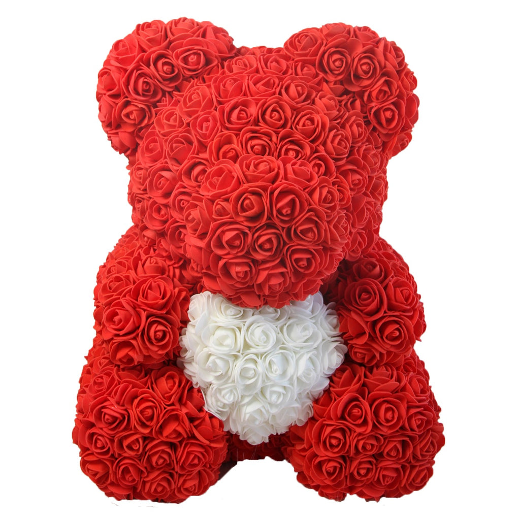Rose Bear - Anniversary, Best, Perfect & Unique Gift Ideas for Lovers, Women, Men, Teen, Wife, Husband, Him, Her, Teen - 40cm - MyGiftsMate