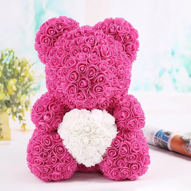 Rose Bear - Thanksgiving Christmas Valentine's Day Mom Anniversary Best Perfect New Unique Heart Thank you Teddy Gift Ideas for Lovers Women Men Wife Husband Him Her Son Daughter Wedding Birthday - MyGiftsMate