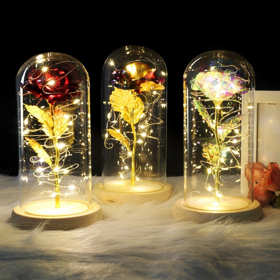 Beauty and The Beast Rose Kit, Colorful Silk Rose and Led Light with Crystals in Glass Dome on Wooden Base for Home Decor Holiday Party Wedding Anniversary Christmas Thanksgiving - MyGiftsMate