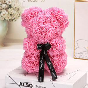 Rose Bear - Thanksgiving Christmas Valentine's Day Mom Anniversary Best Perfect New Unique Heart Thank you Teddy Gift Ideas for Lovers Women Men Wife Husband Him Her Son Daughter Wedding Birthday 25cm - MyGiftsMate
