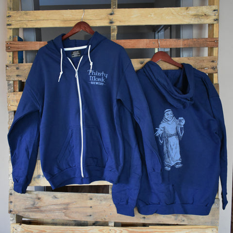 Thirsty Monk Blue Zip-Up Hoodie