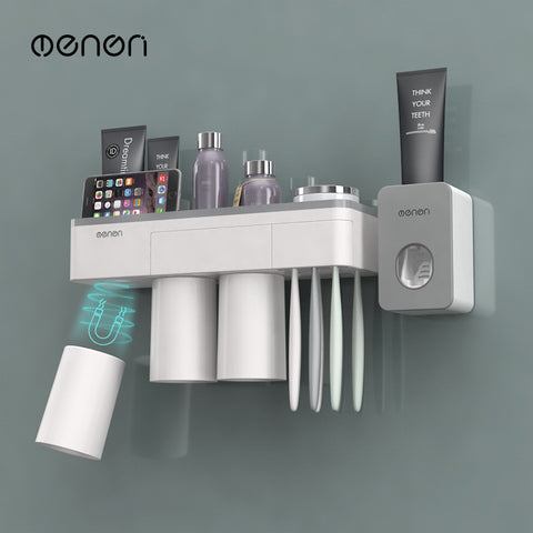 Creative mouthwash cup set toothbrush holder with magnetic suction brush holder