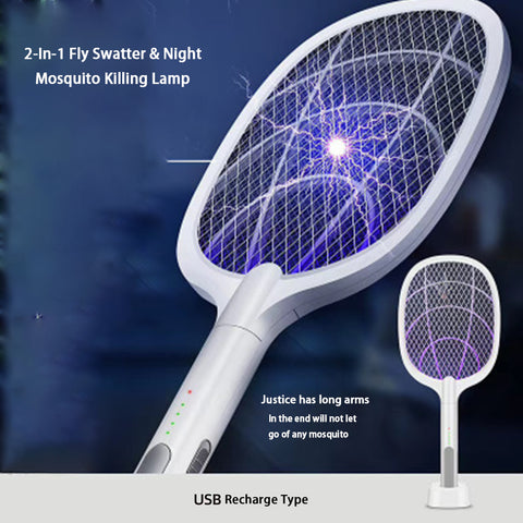 Electric Mosquito Swatter 2 Modes USB Rechargeable Home Bug Zapper