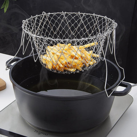 Stainless Steel Folding Frying Basket Colander