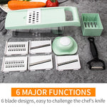 Multi Function Potato Slicer + Peelers Kitchen Sccessories, Onion, Cheese with 6 Stain