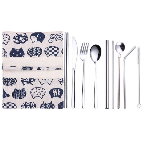 New 9 Pcs/set Portable Stainless Steel Cutlery Set