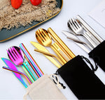 Outdoor Camping Portable 8 pcs Flatware Set With Travel Bag