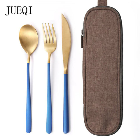 Travel Knife fork spoon cutlery set with bag