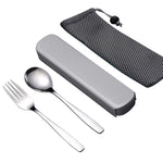 Portable Travel Tableware Set Stainless Steel Dinnerware With Box Kitchen For Kid School Cutlery