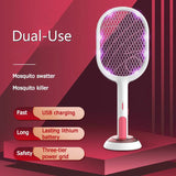 Electric Mosquito Swatter 2 Modes Usb Rechargeable Home Fly Bug Zapper
