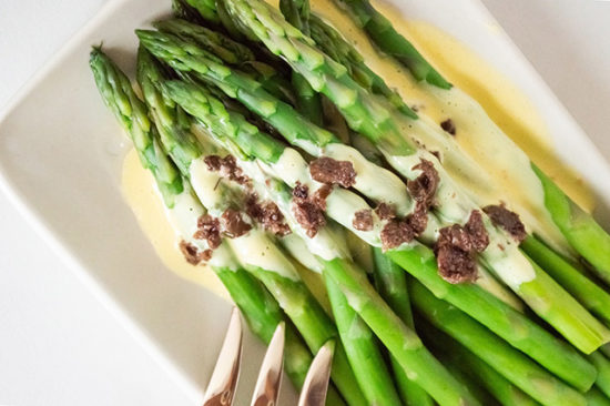 Olive Oil Hollandaise and Asparagus