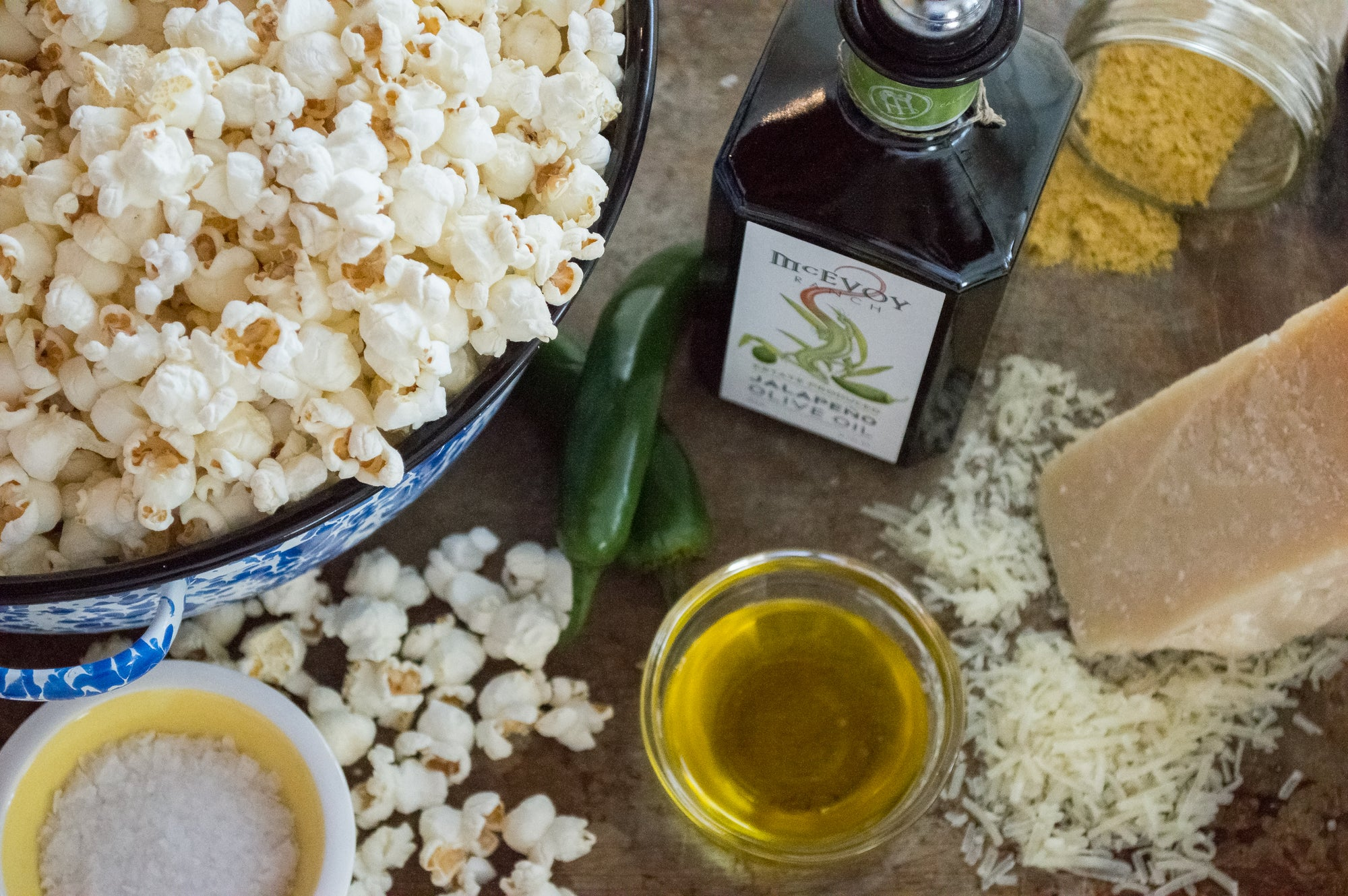 Popcorn with McEvoy Ranch Jalapeno Olive Oil