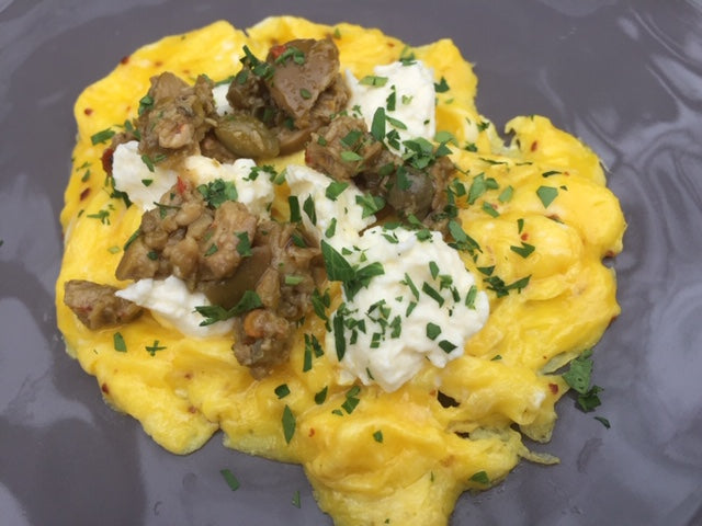 Scrambled Eggs with McEvoy Ranch Spicy Green Olive Tapenade