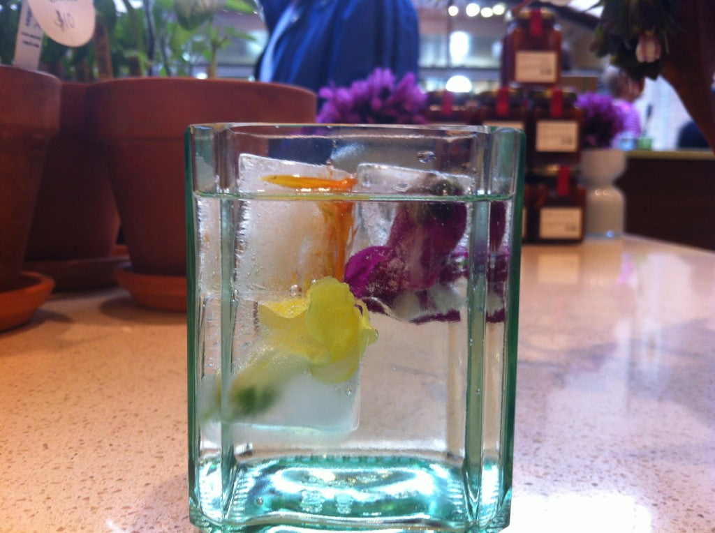 add edible flowers to ice cubes for a more colorful cooled beverage