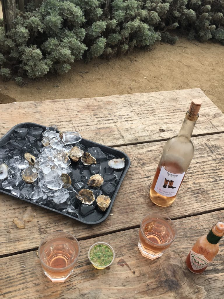 Fresh oysters on the half shell and a bottle of chilled 2015 Rosebud is one of our favorite local pairings.
