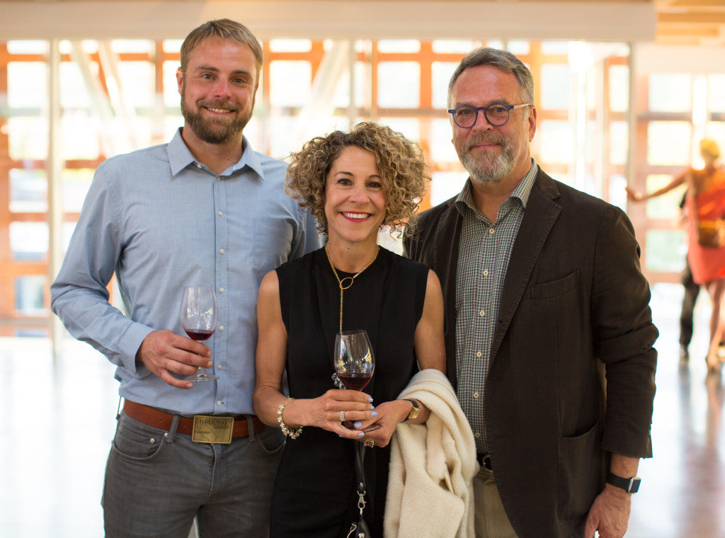 Winemaker Blake Yarger, Laura Werlin, Nion McEvoy | photo by Erik Roush