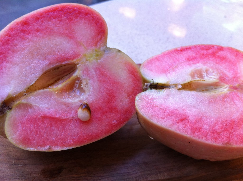pink pearl apple sliced in half
