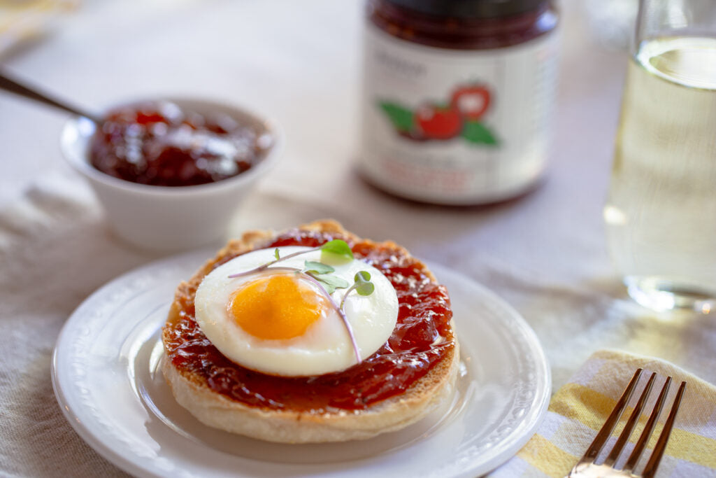Poached Egg with Smoky Sweet Tomato Jam