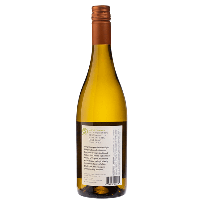 bottle of 2017 bonfiglio vineyard white wine blend