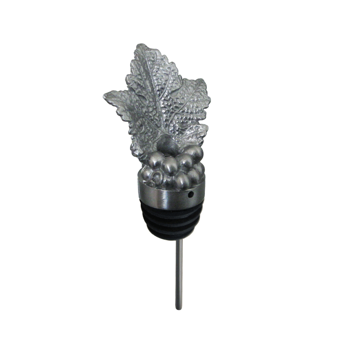 silver grapeleaf pourer with rubber fitting