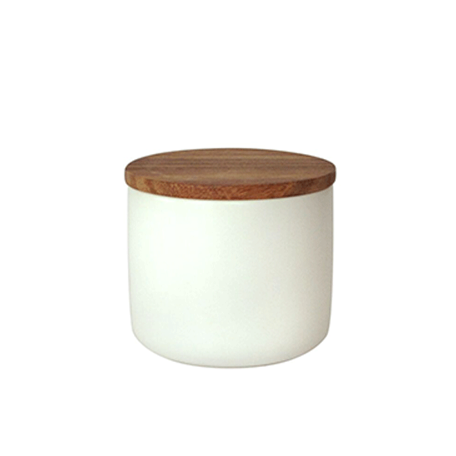 stoneware canister with acacia lid medium