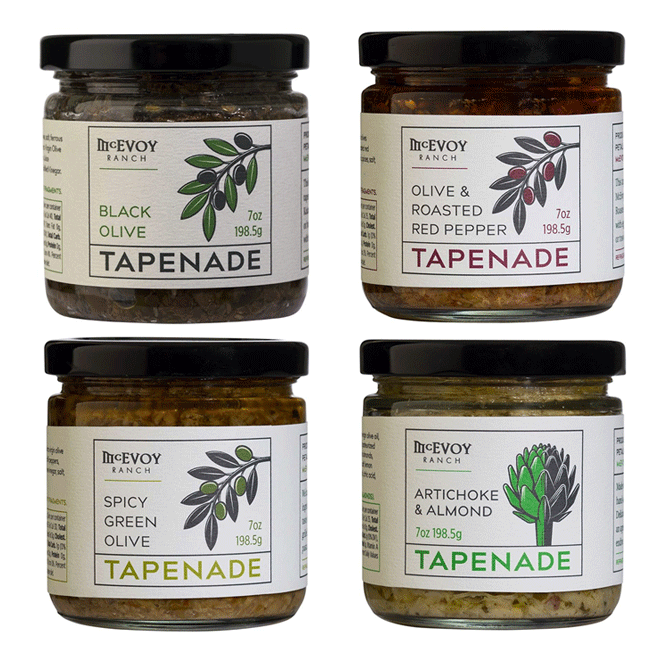 four jars of tapenades