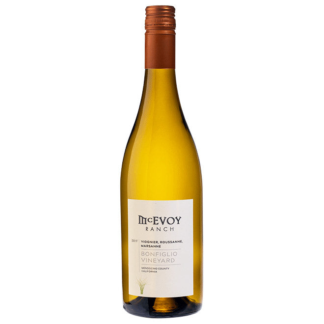 bottle of 2018 bonfiglio vineyard white wine blend