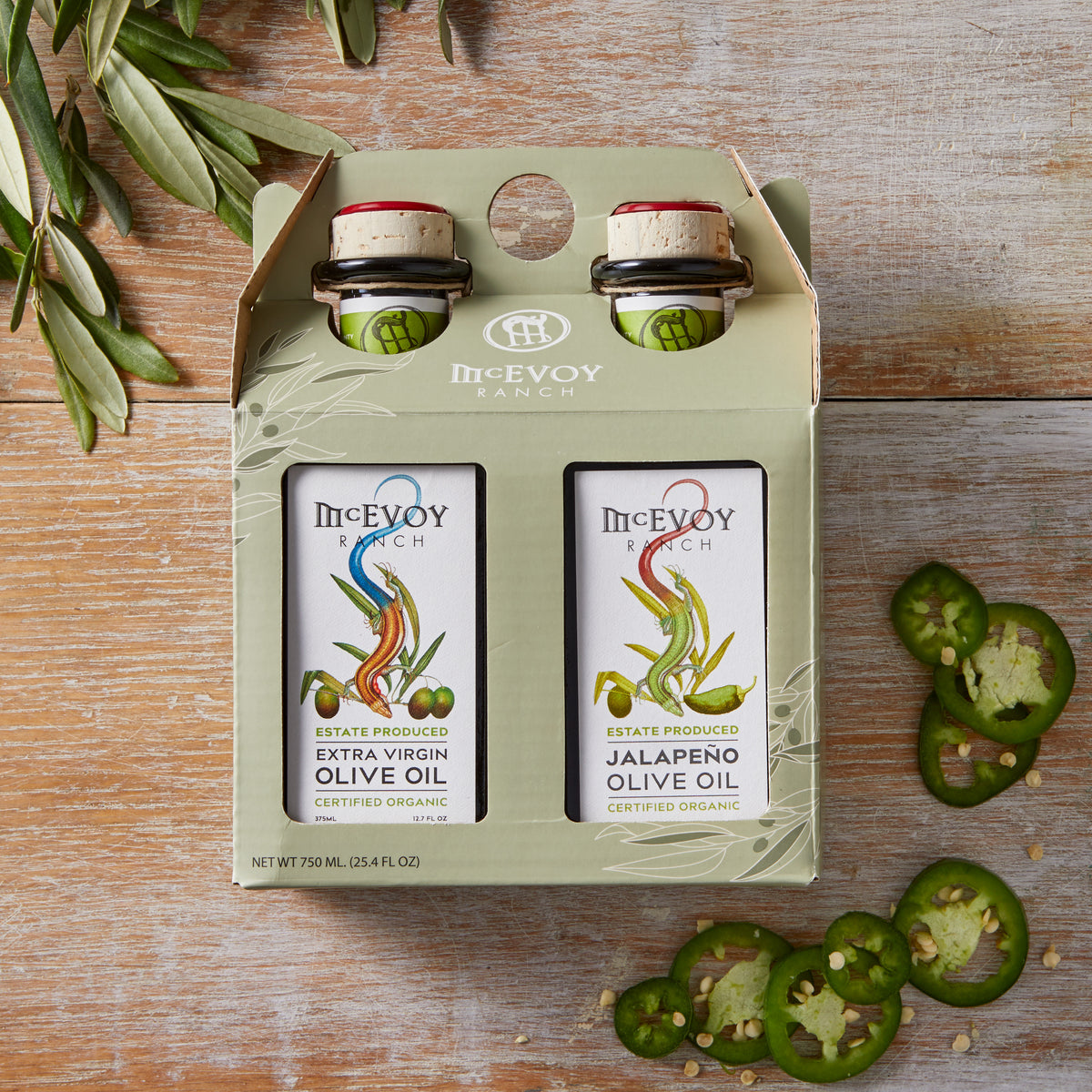 Two Pack Traditional Blend Extra Virgin Olive Oil/Jalapeno Olive Oil