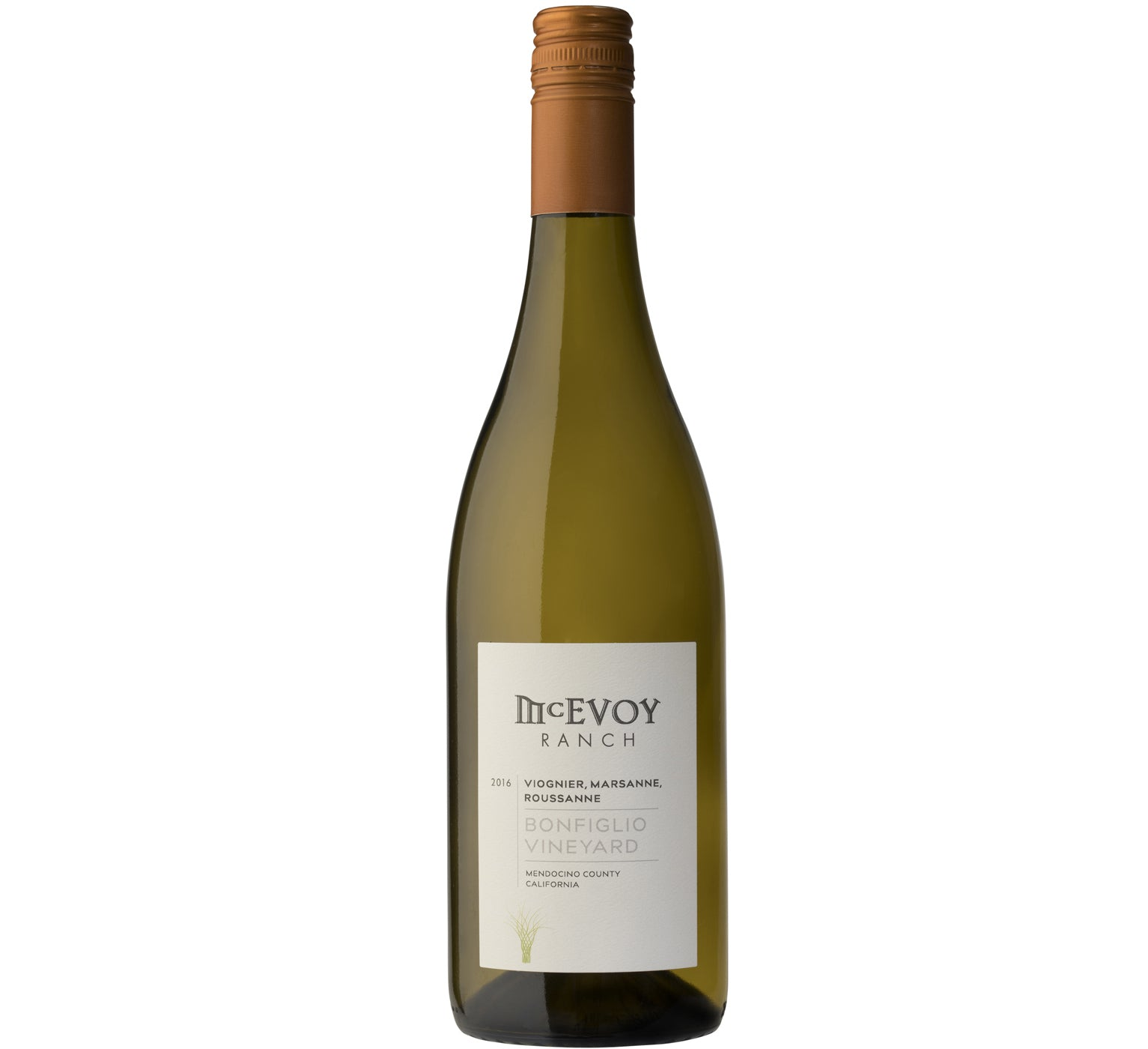 bottle of 2016 bonfiglio vineyard white wine blend
