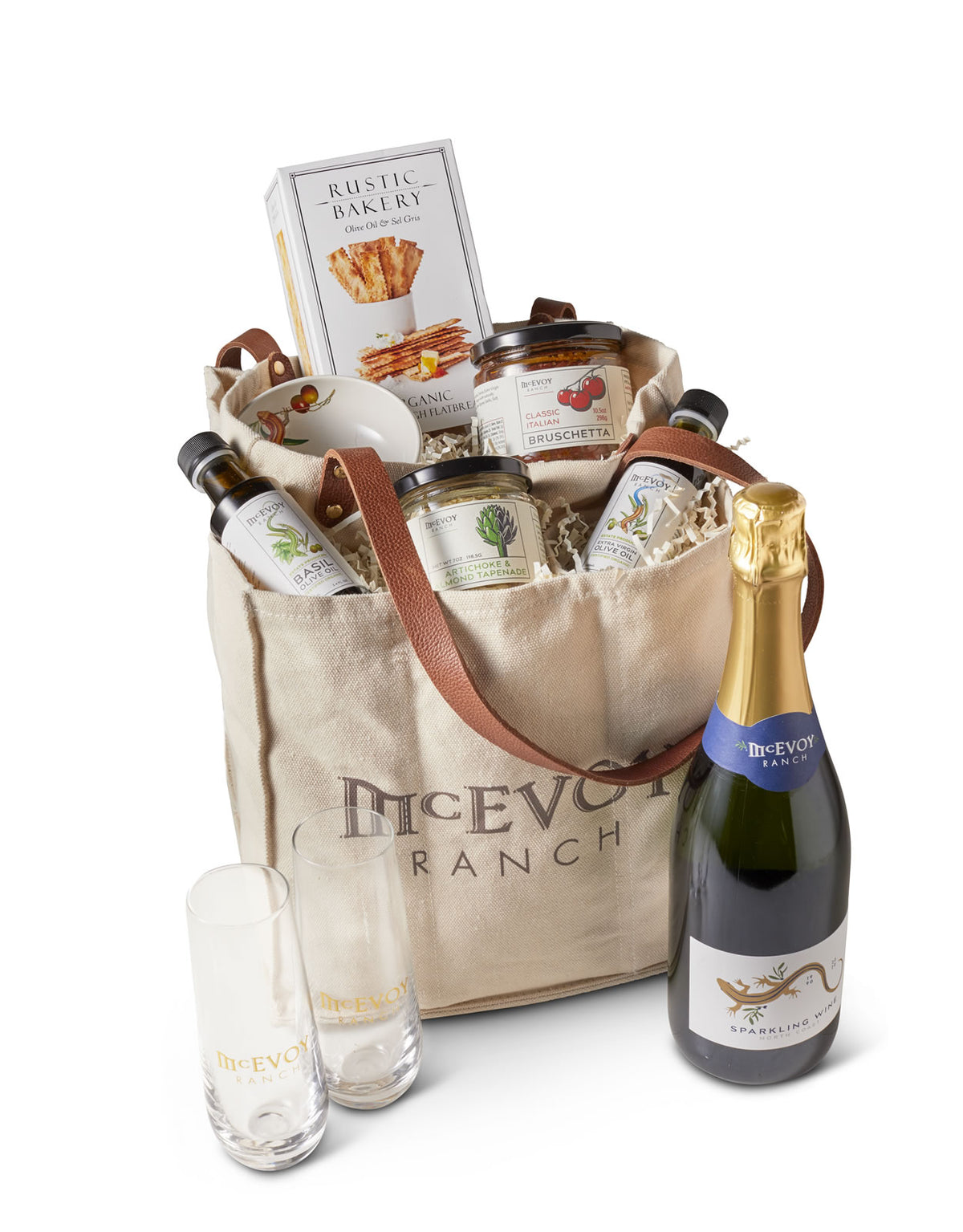 McEvoy Wine & Olive Oil Tote Gift Set