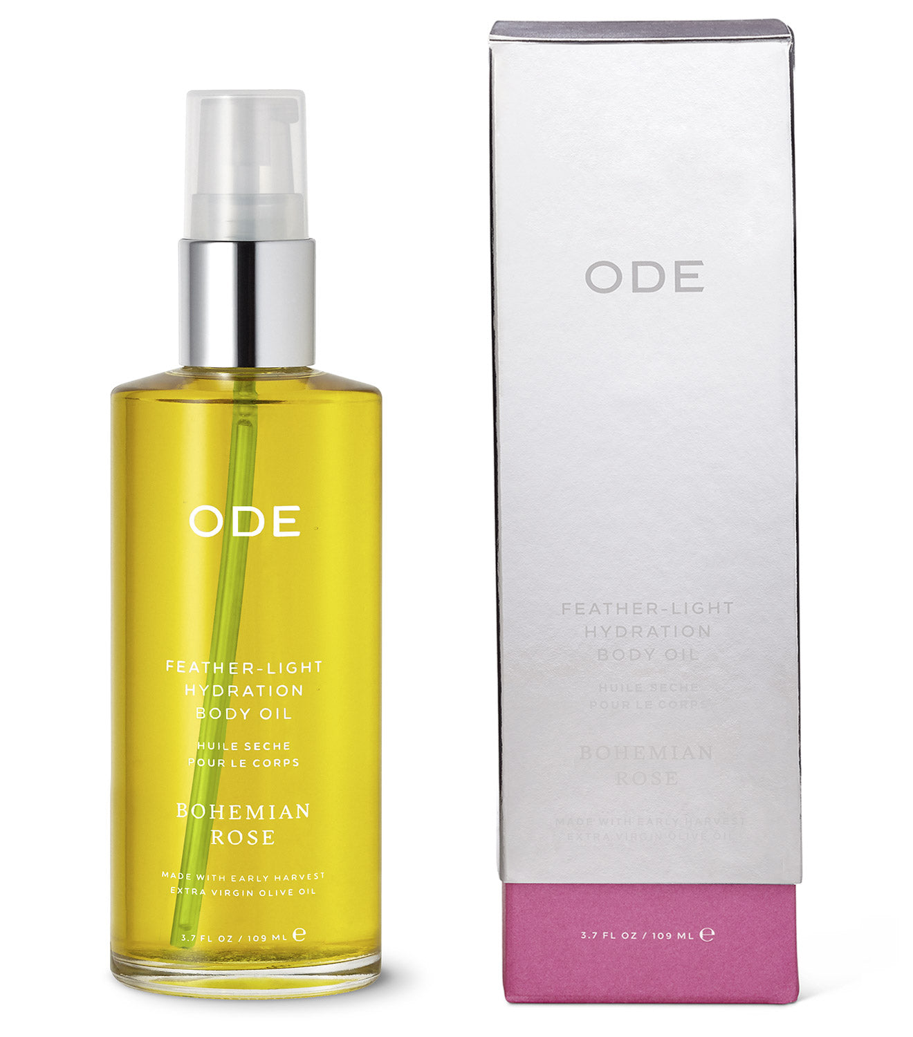 olive body oil bohemian rose in a bottle