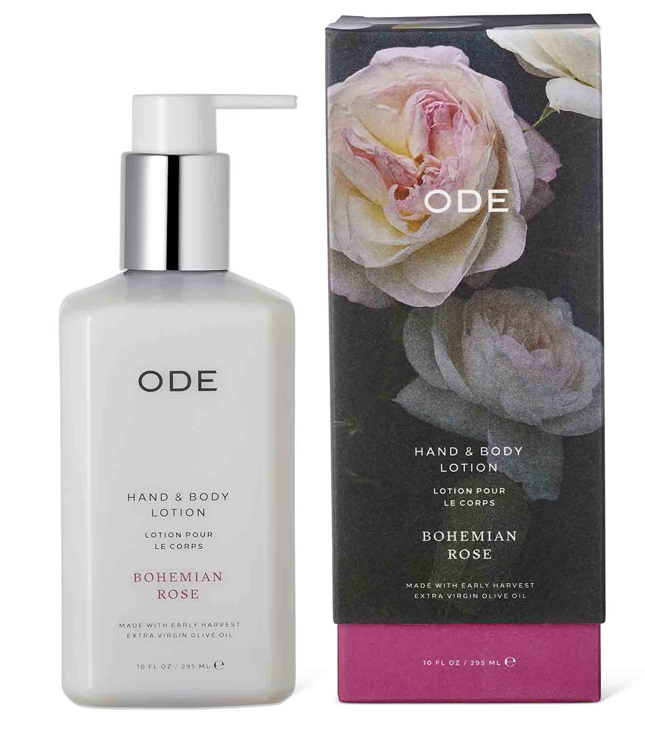 rose body lotion in a bottle