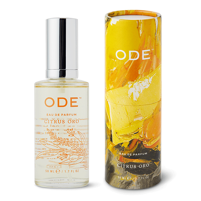 citrus parfume in a bottle