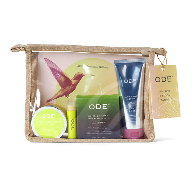 see through cosmetic bag with olive oil soap bar, olive oil body balm