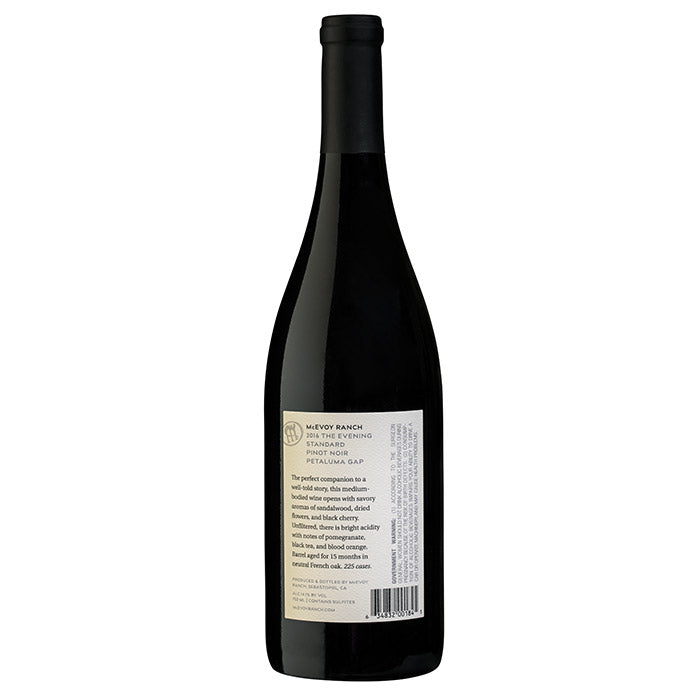 bottle of 2016 evening standard pinot noir