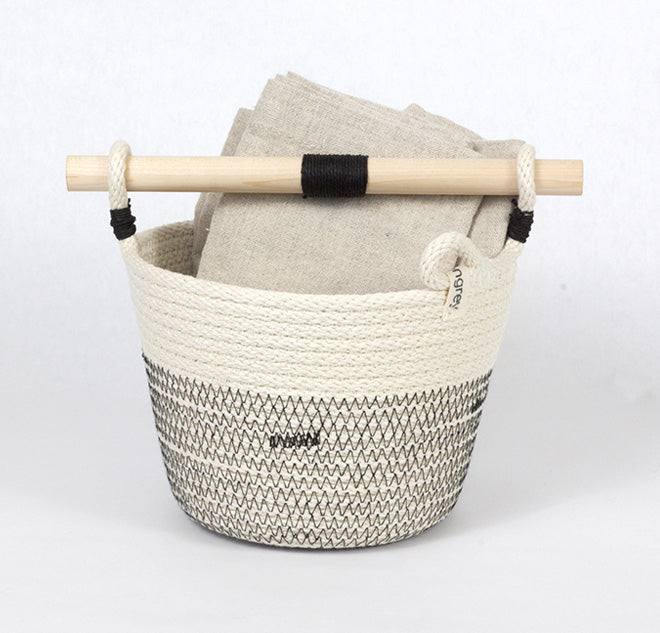 woven basket with handle and towel