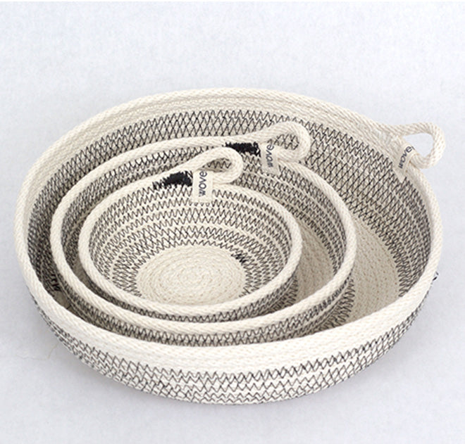 three woven baskets nesting