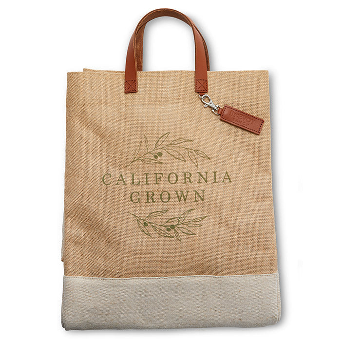tote with handles and california grown logo