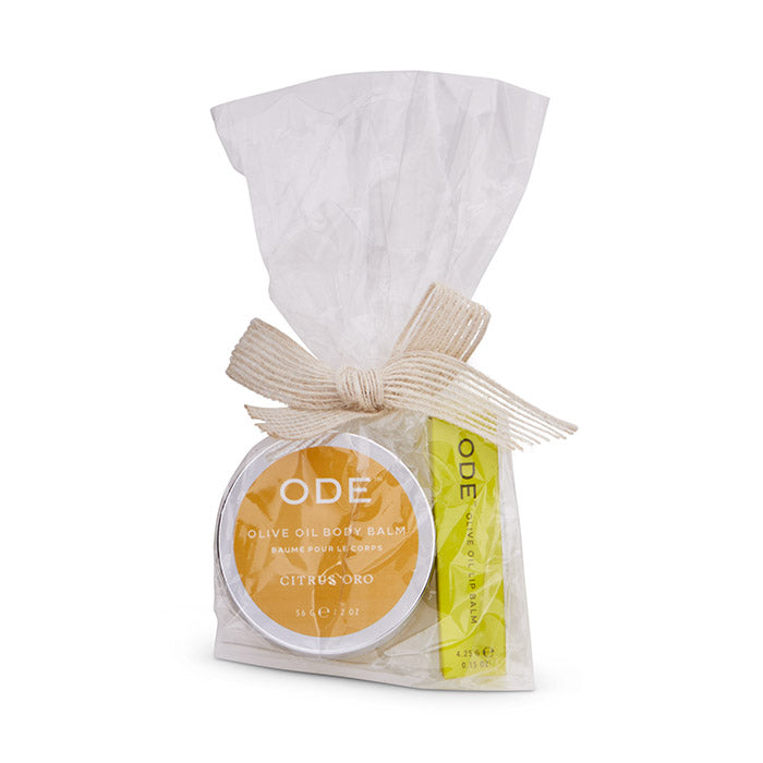 citrus oro olive oil body balm and lip balm wrapped in cello