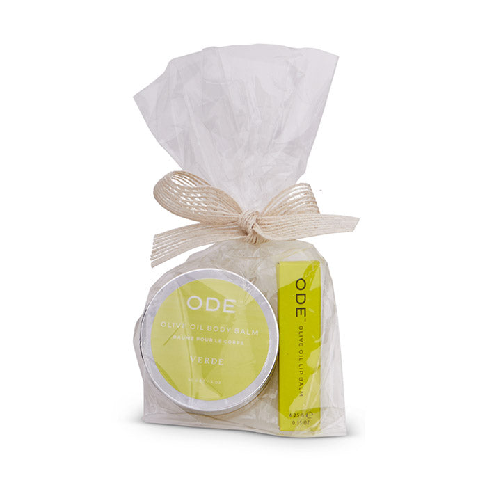 verde olive oil body balm and lip balm wrapped in cello