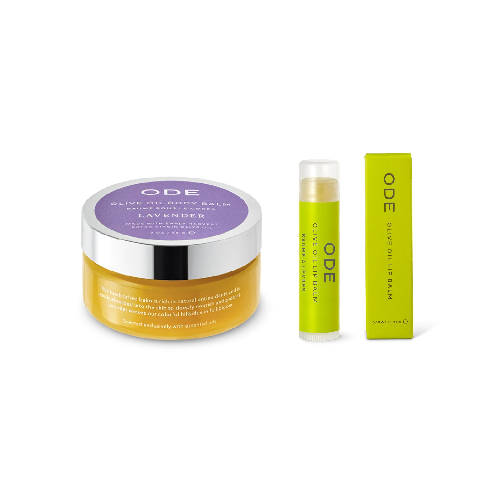 lavander olive oil body balm and lip balm wrapped in cello