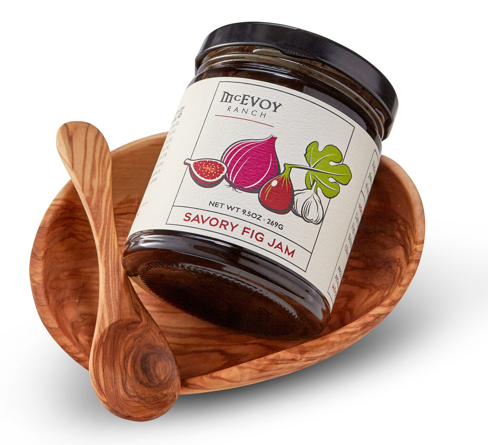jar of fig jam and teak dipping dish