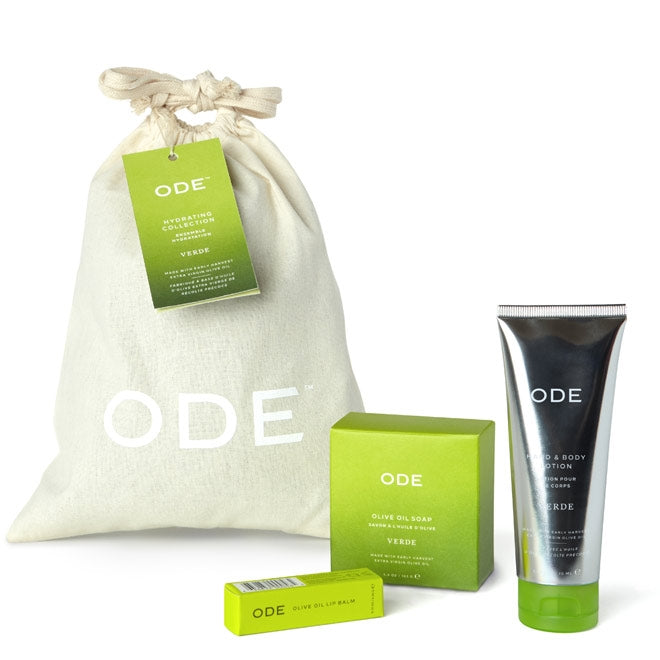muslin bag and verde body tube lotion, soap bar and lip balm