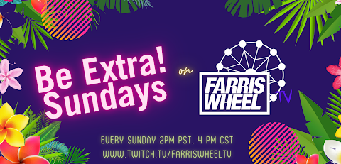 live dj show, farris wheel, be extra, be extra store banner