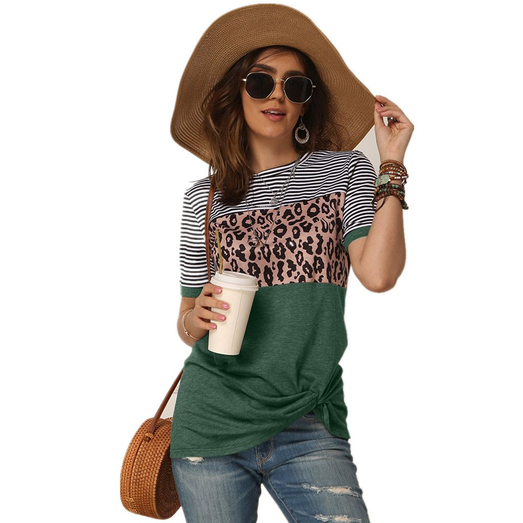 Striped Leopard Short Sleeve Tshirt
