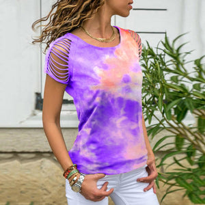 Women's  Tie-dye T-shirt with Shredded Sleeves
