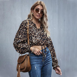 Leopard Print Long Sleeve Cropped Blouse