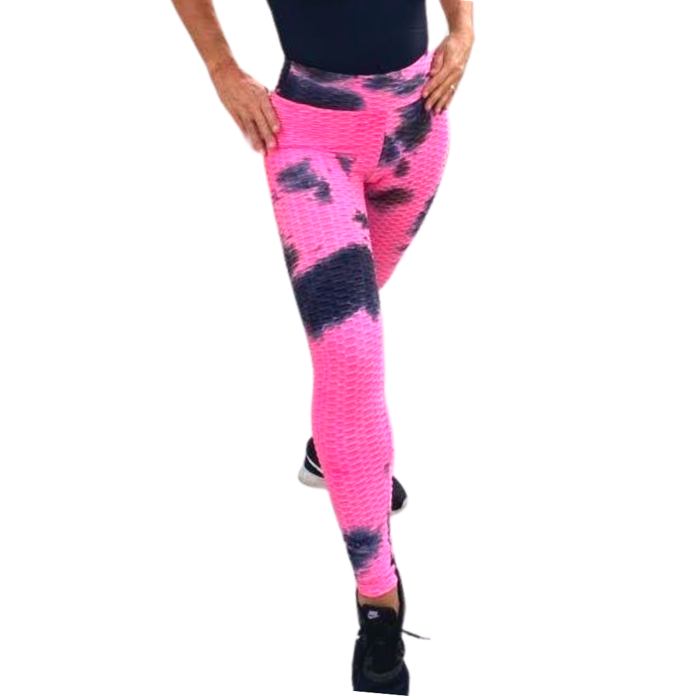High Waist Tie Dye Butt Lifting Textured Workout Leggings (Pink/Black)